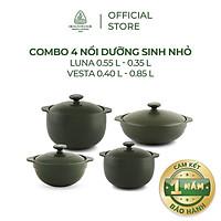 Bộ 4 nồi sứ dưỡng sinh Minh Long (0.35L/0.55L - 0.4L/0.85L) - Hàng Chính Hãng