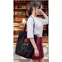 Túi tote vải canvas 2 màu đen,trắng phong cách Hàn quốc, ngăn phụ có khóa