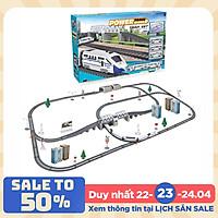 Bộ đồ chơi lắp ghép đường ray tàu cao tốc KAVY gồm nhiều chi tiết như hầm chui, cầu vượt, nhà cửa, biển báo..