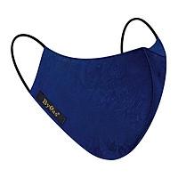 Khẩu trang vải lụa thiên nhiên y tế cao cấp BYFAS BM-20 (hoa văn bông công - màu xanh navy) - Tặng kèm ngay túi lụa satin cao cấp bảo vệ