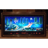 Tranh lịch vạn niên cảnh thành phố về đêm có hiệu ứng đèn chớp màu sắc - 438