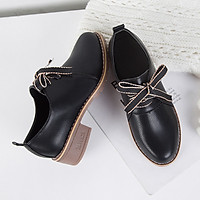 IELGY Leather shoes, women's shoes, wild British wind, retro student, belt, single shoes, women