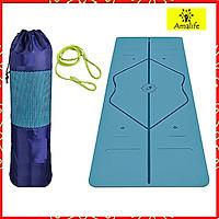 Thảm Yoga Định Tuyến TPE 2 Lớp Cao Cấp Amalife + Bao Thảm + Dây Buộc (Màu Ngẫu Nhiên)