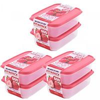 Bộ 3 Hộp nhựa cao cấp chứa thực phẩm Fitin Pack 600ml nắp dẻo - Hàng nội địa Nhật