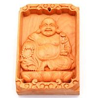 Mặt gỗ ngọc am khắc hình tượng Phật Di lặc MG7
