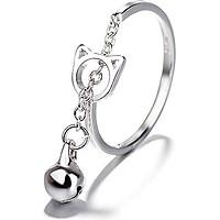 Nhẫn bạc nữ Chuông mặt mèo