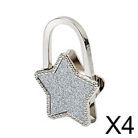 4xUnisex Table Star Foldable Purse Bag Hanger Handbag Hook Holder Silver