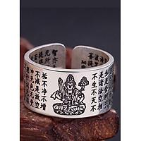 Nhẫn Bạc Thái 9999  Bát Nhã Tâm Kinh- Hư Không Tạng Bồ Tát Hộ Mệnh cho Nữ Tuổi Dần  Mệnh Kim MAN1-2