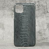 Ốp Lưng Da Đà Điểu Max Màu Xám MrFour Dành Cho Iphone 11 Pro Max  | Ốp Lưng Da Đà Điểu Gai Chân Cao Cấp