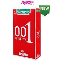 Bao Cao Su Okamoto Siêu Mỏng 0,01 mm Cảm Giác Chân Thật Như Không Dùng Bao Cao Su, Nhật Bản Hộp 4 Chiếc