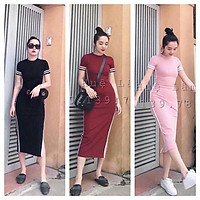 Váy Body Thể Thao Phối Viền Xẻ Đùi - 3 Màu Cá Tính