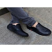 giày mọi lười nam da bò dập vân cá sấu đế cao su khâu phối quần jean phong cách, chống hôi chân, êm chân SHOES 2H - 77