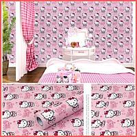 Giấy dán tường Hello Kitty hồng khổ rộng 45cm có keo sẵn, Decal giấy dán tường màu hồng dễ thương