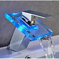 Vòi lavabo Led đổi màu theo nhiệt độ hàng inox cao cấp Home and Garden ( có kính cường lực )