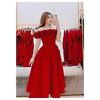 Đầm xoè dự tiệc bẹt vai nhún bèo sang trọng TRIPBLE T DRESS - size M/L (kèm ảnh/video thật) MS175V
