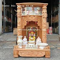 COMBO Bộ bàn thờ thần tài ông địa gỗ xoan ngang 60 cm rất đẹp