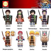 COMBO 8 Minifigures Các Mẫu Nhân Vật Nezuko Tanjiro Rengoku Kyoujurou Zenitsu Trong Sát Quỷ Demon Slayer WM6116