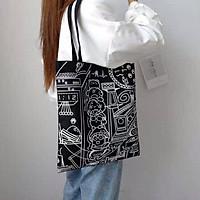Túi vải canvas in hình vui nhộn - Túi tote phong cách Hàn Quốc
