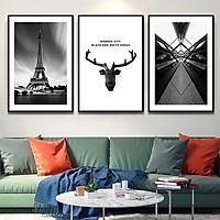 Bộ 3 tranh canvas treo tường Decor Họa tiết hươu và thành phố phong cách cổ điển - DC101