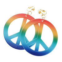 Rainbow Peace Sign Earrings Ear Rings 1960's Party Fancy Dress Accessories