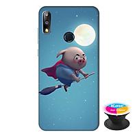 Ốp lưng điện thoại Asus Zenfone Max Pro M2 hình Heo Con Làm Phù Thủy tặng kèm giá đỡ điện thoại iCase xinh xắn - Hàng chính hãng