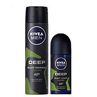 Bộ Đôi Xịt Ngăn Mùi Nivea Than Đen Hương Rừng Amazon 150ml và Lăn Ngăn Mùi Nivea Than Đen Hương Rừng Amazon 50ml
