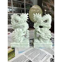 Cặp Rồng đứng phong thủy đá cẩm thạch trắng xanh - Cao 15 cm