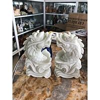 Cặp cá Chép hóa Rồng phong thủy đá cẩm thạch trắng xanh - Cao 15cm