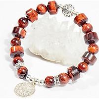 Vòng tay phong thủy đá mắt hổ nâu đỏ charm hoa tròn 12mm mệnh hỏa , thổ - Ngọc Quý Gemstones