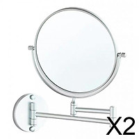 2xDouble Sided Wall Mount 3X Magnifying Cosmetic Shaving Swivel Mirror Matte