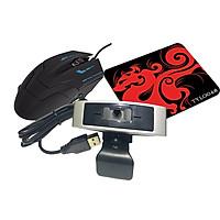 Webcam Dùng Cho Máy Tính, Laptop CM330G Kèm Chuột Và Pad Chuột AZONE
