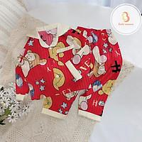 Bộ Lụa Dài Tay Cho Bé Chất Lụa Gấm Size 8-22kg Đồ Bộ Mặc Nhà Babi mama - BPN01