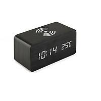 Đồng hồ LED để bàn giả gỗ CAO CẤP - Sạc không dây Qi wireless charger- Nhiệt kế - Báo thức - Cảm ứng âm thanh