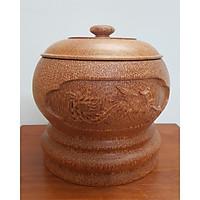 Vỏ đựng bình trà gỗ dừa rồng phượng nổi