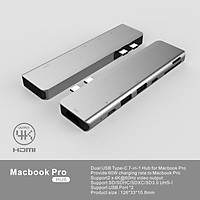 7-in-2 Hub for MacBook Pro Line Concentration Data Converter with Dual USB Type-C Port One Lighgning Port SD TF Card Slot Support Plug and Play