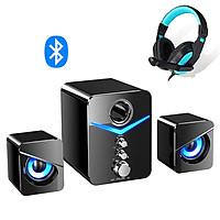 Bộ Loa Máy Vi Tính Để Bàn 221D Âm Thanh Trầm Hỗ Trợ Bluetooth - Dùng Cho Laptop, PC, Tivi + Tặng tai nghe chụp tai CT770 ( Giao Màu Ngẫu Nhiên )