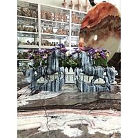 Tượng cặp Ngựa phong thủy công danh tài lộc đá cẩm thạch vân đen - Dài 20 cm