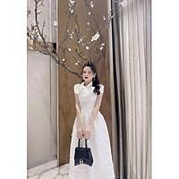 Đầm dự tiệc gấm tay ngắn nơ cổ TRIPBLE T DRESS - size M/L -MS225V