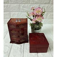 Cặp combo tủ 4 ngăn gỗ gụ và hộp đựng trang sức vuông gỗ hương CTU01