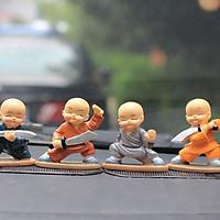 Bộ 4 tượng chú tiểu múa đao Pháp Tâm