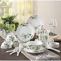 Bộ bàn ăn 28 chi tiết họa tiết trà Hoa Camellia trắng tinh khiết men sứ xương cao cấp phong cách Châu Âu