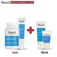 Bộ sản phẩm Murad Acne: Viên uống mụn Pure Skin + Gel Rapid Relief Acne 15ml TẶNG Clarifying Mask 75gr + Cleanser 15ml
