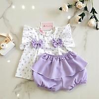 Set đồ bộ quần áo cộc tay thô mềm cho bé gái sơ sinh - 13kg