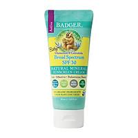 Kem Chống Nắng Thiên Nhiên Dành Cho Em Bé Badger SPF 30 Baby Sunscreen - Thuần vật lý, phổ rộng broad-spectrum, an toàn cho san hô, 98% thành phần hữu cơ
