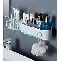 Gía đựng bàn chải và kem đánh răng kiểu xoắn kèm kệ đựng mỹ phẩm treo tường nhà tắm thông minh
