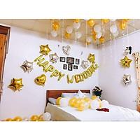 Set bóng trang trí phòng cưới phòng tân hôn tông trắng vàng đồng sang trọng