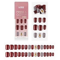 Bộ 30 Móng Tay Gel Tự Dán Press & Go Kiss New York Nail Box - Ginger Cookieman (KPNS23K)