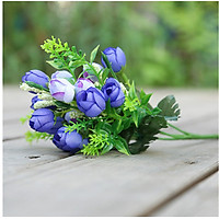 Hoa giả Chùm Hoa Hồng Trà 15 nụ bông Màu Xanh trang trí