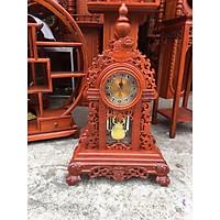 Đồng hồ để bàn gỗ Hương đục hoa lá tây loại đặc biệt