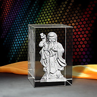Tượng Ông Thọ 3D Trong Khối Pha Lê - Quà May Mắn/ Mừng Thọ